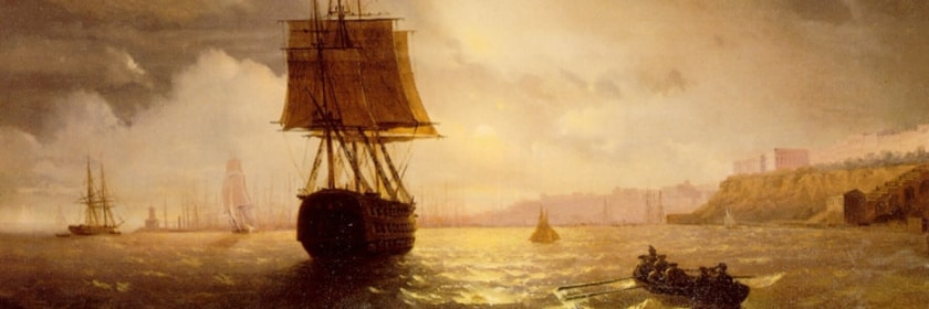 Oil painting on canvass by Ivan Constantinovich Aivazovsky of ships in the Harbor at Odessa on the Black Sea in 1852