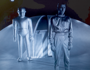 Klaatu and Gort from the movie, the day the earth stood still