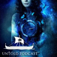 Fantasy image of woman holding a clock from the untold podcast
