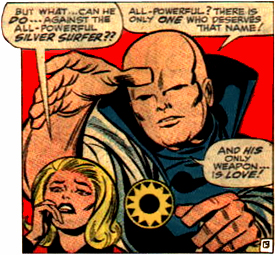 frame from Fantastic Four comic book showing the Watcher and Sue Storm