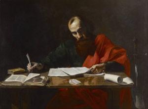 Public domain painting of Saint Paul writing his epistles