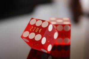 photograph of two red dice