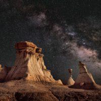 view of desert mountains at night