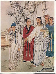 Chinese painting of Jesus and the rich young ruler