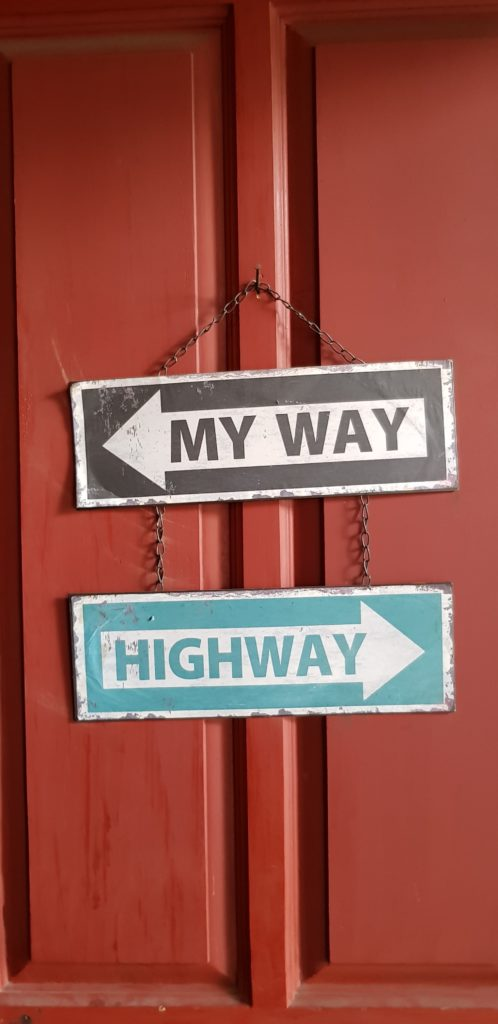 two signs: my way, highway