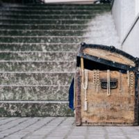 treasure chest in front od stone stairs