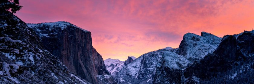 dawning sky behind mountains