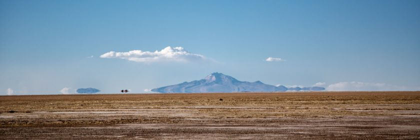 Distant mountain and its mirage