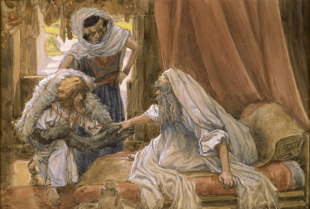 painting by James Tissot Jacob deceives Isaac