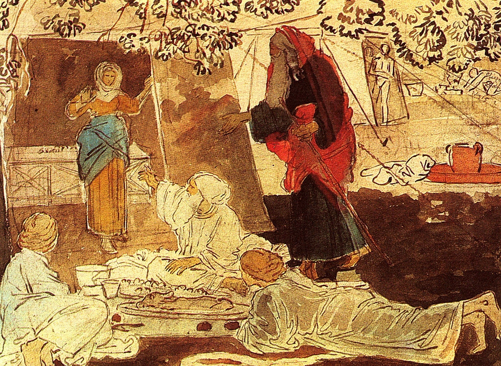 painting of Abraham receiving the angels