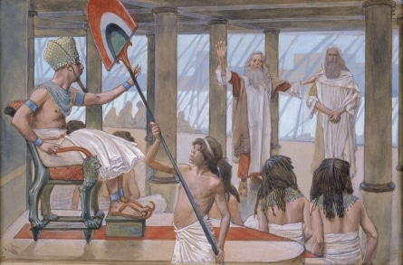 Painting by Tissot Moses speaks to Pharaoh