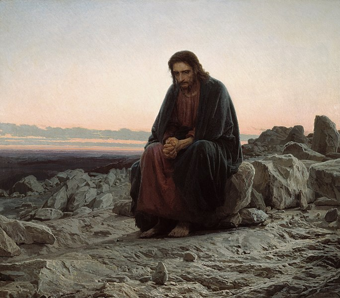 painting of Jesus in the widerness