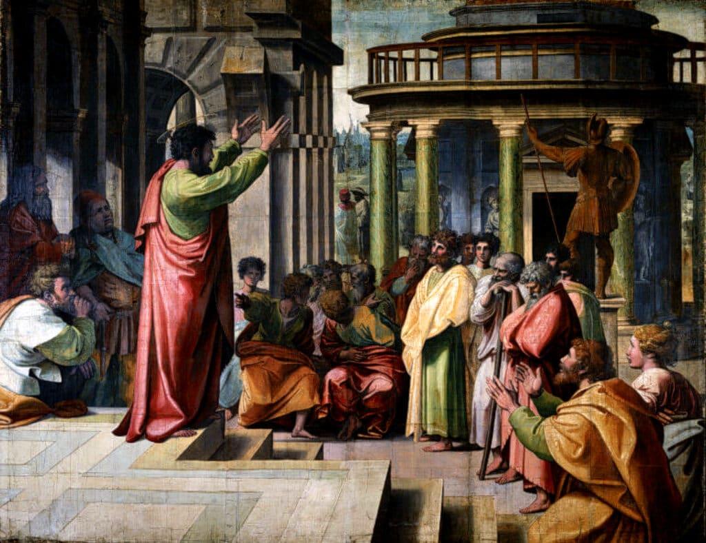 painting  y Raphael of Saint Paul preaching in Athens