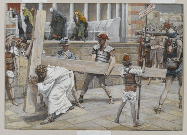 painitng by tissot of Jesus bearing the cross