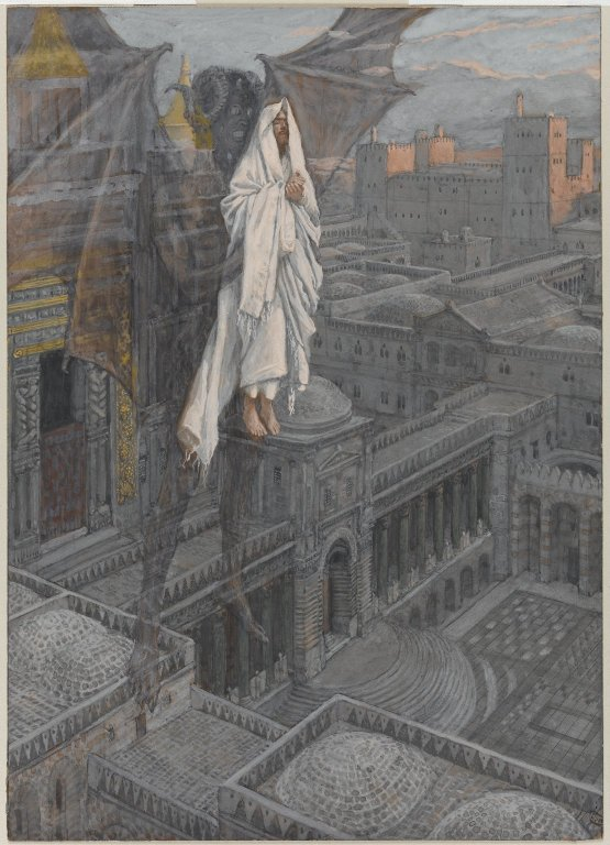painting by James Tissot showing Jesus carried to the pinnacle of the temple by the devil
