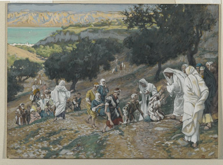 Painting by Tissot: jesus heals the blind and the lame on the mountain
