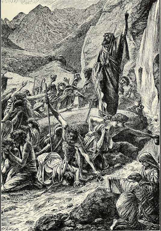 drawing of Moses striking the rock