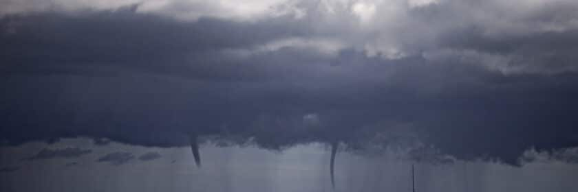 photograph of waterspout tornados